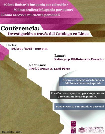 Promo Conferencia-Investigación a través del Catálogo en Línea 2018