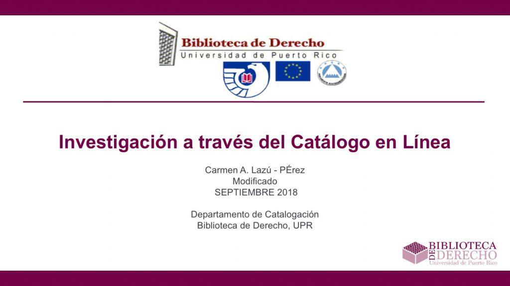 Investigación a través del Catálogo en Línea - Presentación