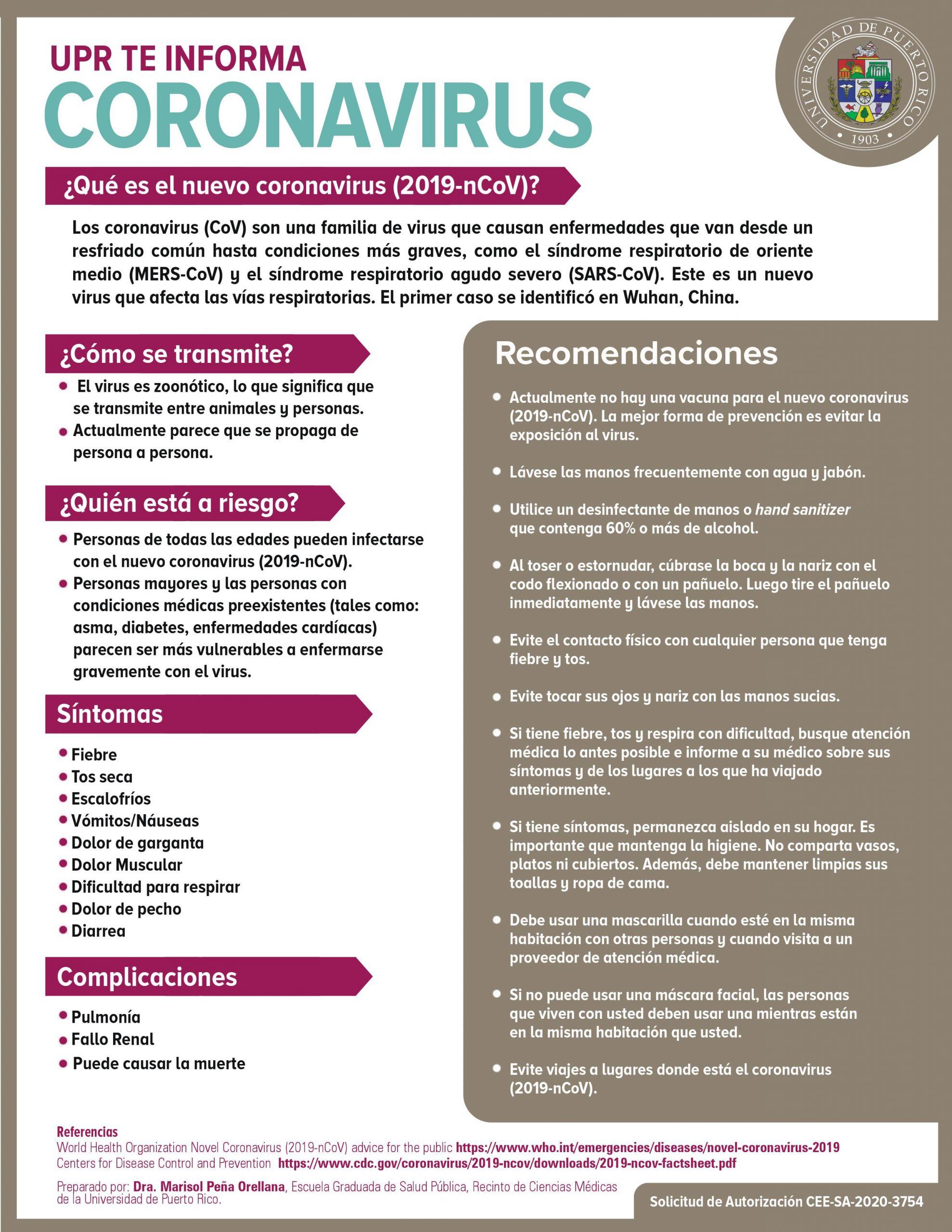 UPR te informa: Coronavirus 2019