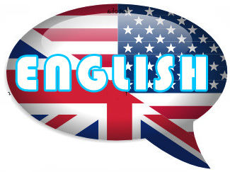 Logo representativo del idioma Ingles con las banderas de Inglaterra y Estados Unidos.