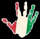 Mano con colores rojo, blanco y verde, sin color de fondo