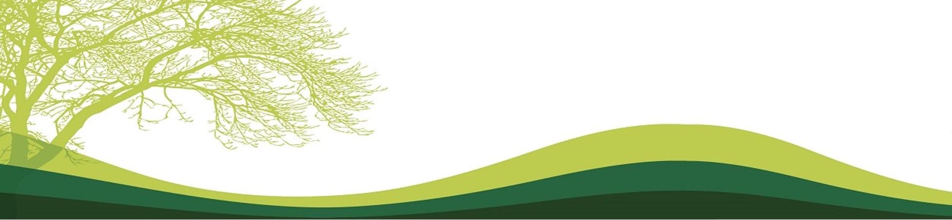 Banner con motivo de arbol y montañas todo en tonalidades verdes
