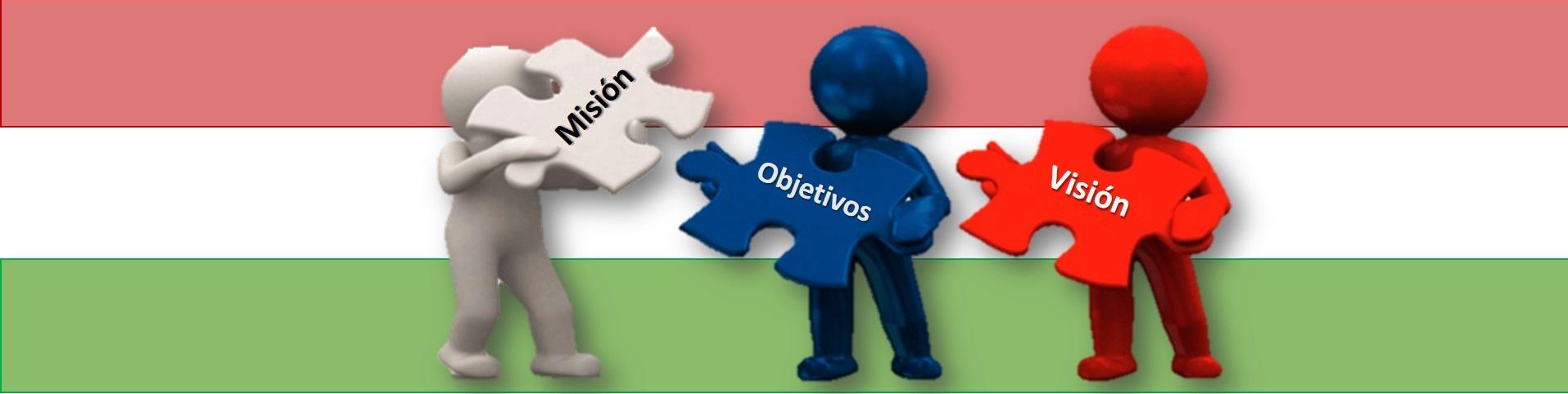 Banner representativo de la Misión, Objetivos y Visión