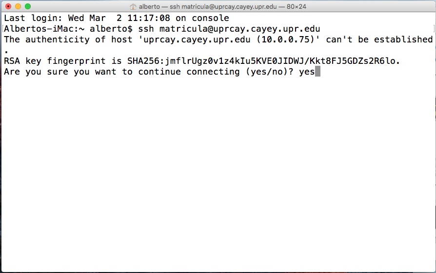 Imagen representativa de configuración para entrar a la área de matrícula de UPR Cayey usando el terminal de Mac Os segunda pantalla