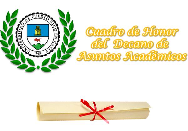 Imagen represtativa al listado de estudiantes del Cuadro de Honor UPR Cayey