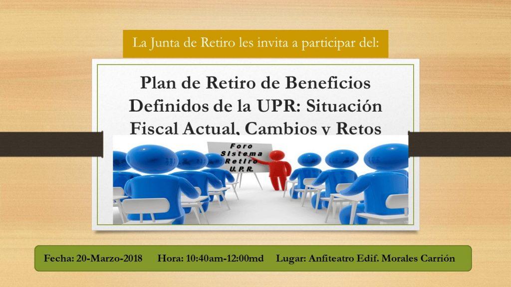 Promición Foro de Retiro: Plan de Retiro de Beneficios Definidos