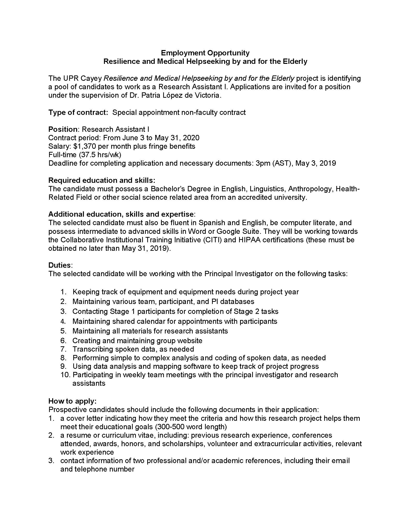 Employment Opportunity – Research Assistant I – Instituto de