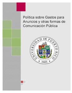 Política sobre Gastos para Anuncios y otras formas de Comunicación Pública