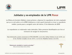 Disposición de Expedientes: Jubilados y Ex-empleados UPRP