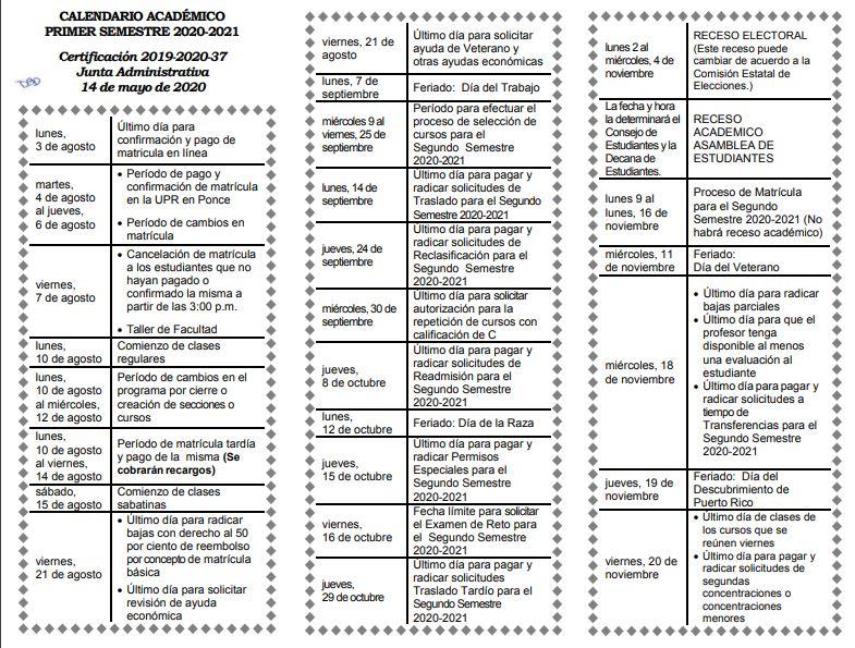Calendario Academico Upr Ponce