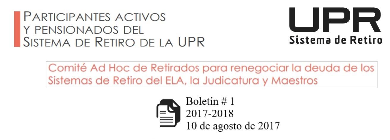 Boletín informativo # 1 de la Junta de Retiro año fiscal 2017-2018