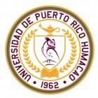 sello Recinto Humacao, colores blanco dorado y cardenal, letras cardenal, imagenes: buho , amapara aceiite, libro hojas laurel