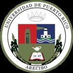 sello Recinto Arecibo colores verde azul rojo , imagenes corona toore faro año 1967 y lampara saber