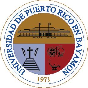 sello Recinto Bayamón, colores marron, rojo, azul, claro letras negras, imagenes cruz escaleras, lámpara saber, edificio banderas