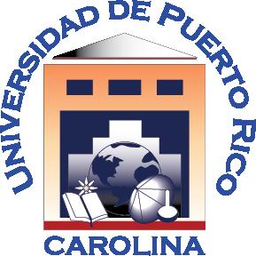 sello Recinto Carolina, colores blanco rojo azul marino, letras azules, imágenes libro, globo terráqueo