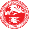 sello Recinto de Rio Piedras, redondo colores blanco y rojo, contiene año fundacion paisaje de palmas casa rayos sol