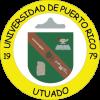 sello Recinto Utuado, colores amarillo blando y verde, letras negras, imágenes: