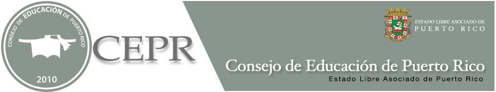encabezado del consejo de educaión de Puerto Rico, colores gris y blanco . imagenes escudo del ELA PR, logo de un birrete balnco sobre un circulo gris, en el circulo letras blancas indicando nombre Consejo de Educación de PR y el año 2010