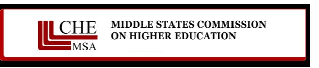 imagen de la MSCHE colores fondo blanco, letras negras y lineas rojas, palabras Middle States Commission on higher education