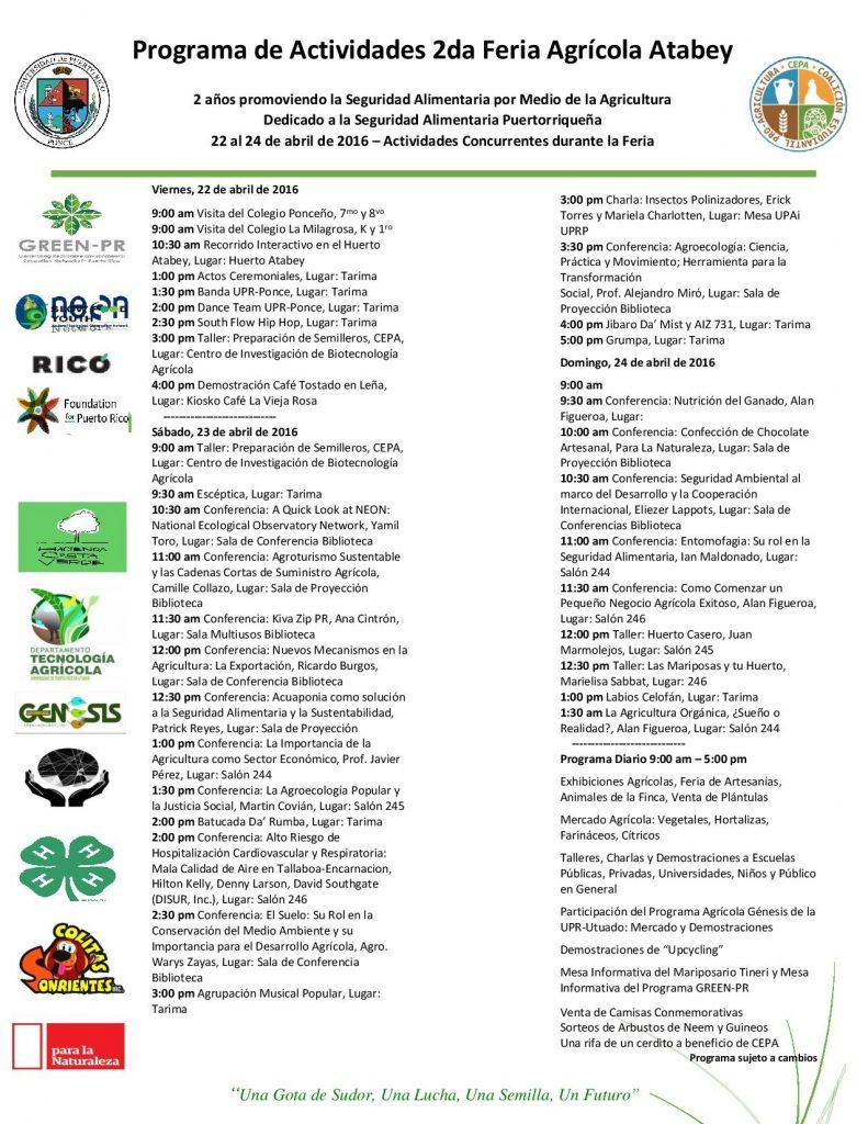 Programa de Actividades 2da Feria Agrícola Atabey