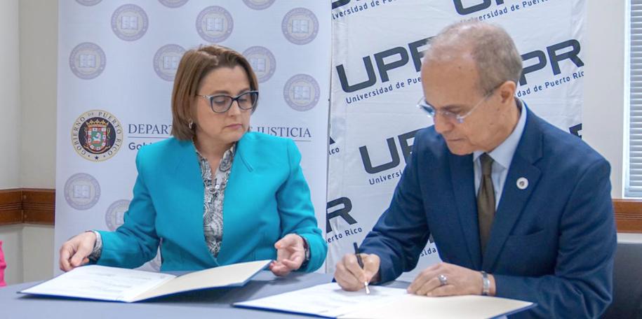 Departamento de Justicia y Universidad de Puerto Rico firman acuerdo de colaboración